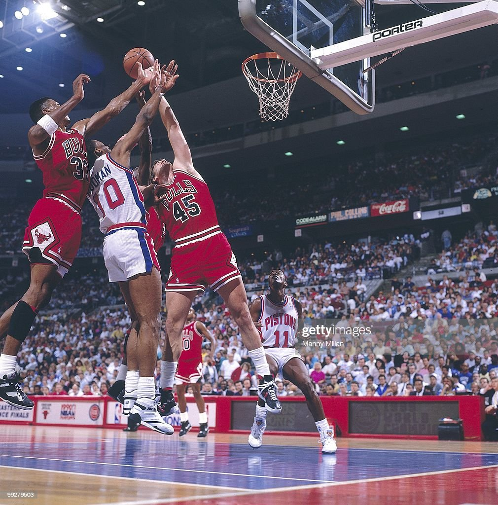 Detroit Pistons vs Chicago Bulls, 1990 NBA Eastern Conference Finals : News Photo