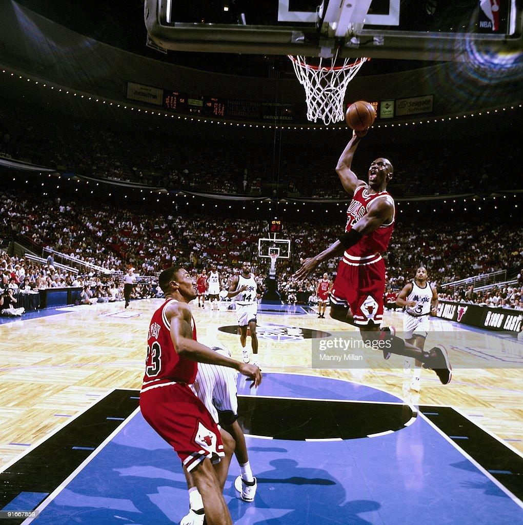 Chicago Bulls Michael Jordan in action, dunk vs Orlando ...