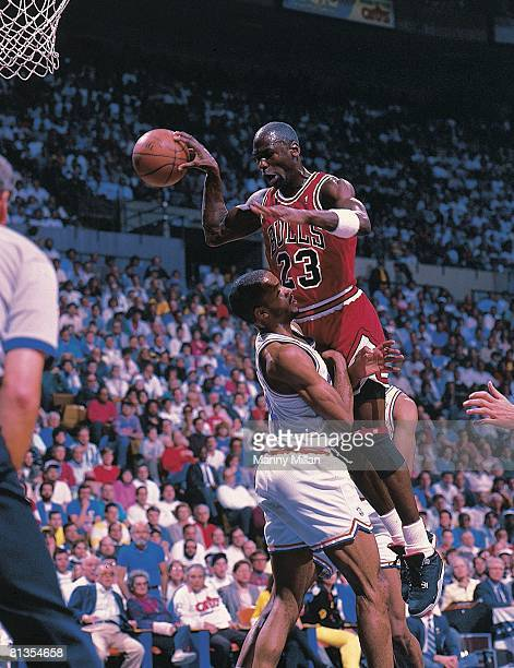 Basketball NBA Playoffs Chicago Bulls Michael Jordan in action layup vs Cleveland Cavaliers Ron Harper Game 5 Richfield OH 5/7/1989