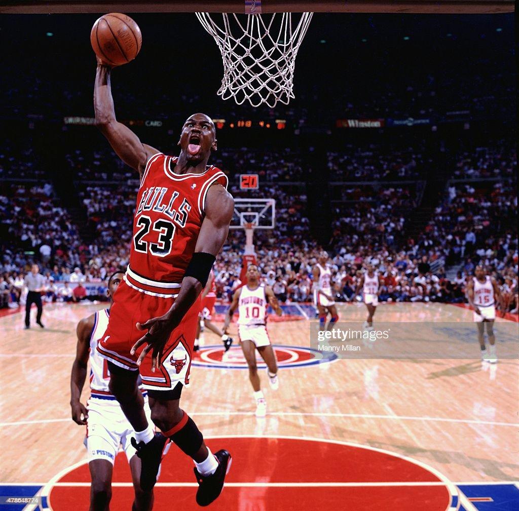 Chicago Bulls Michael Jordan in action vs Detroit Pistons ...
