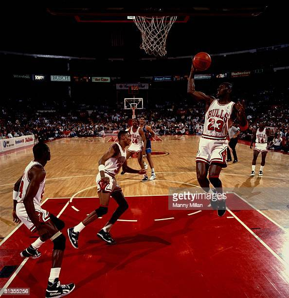 Basketball NBA Playoffs Chicago Bulls Michael Jordan in action vs Cleveland Cavaliers Craig Ehlo Game 4 Chicago IL 5/5/1989