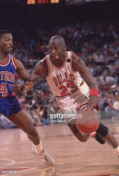 Basketball NBA Playoffs Chicago Bulls Michael Jordan in action vs Detroit Pistons Joe Dumars Game 6 Chicago IL 6/2/1989