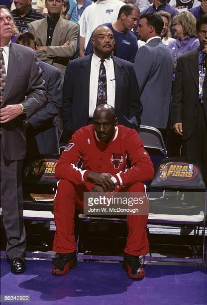 NBA Playoffs Chicago Bulls Michael Jordan on bench during game vs Utah Jazz Jordan was sick with the flu Game 5 Salt Lake City UT 6/11/1997 CREDIT...