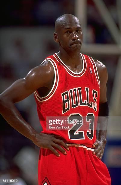 Basketball NBA Playoffs Chicago Bulls Michael Jordan on court during Game 2 vs Orlando Magic Orlando FL 5/10/1995