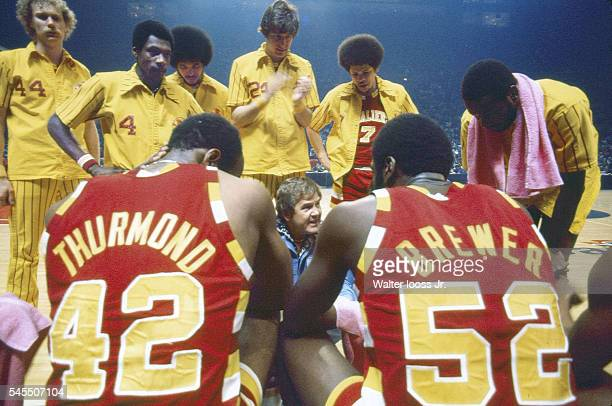 NBA Playoffs Cleveland Cavaliers coach Bill Fitch in huddle with players during game vs Washington Bullets at Capital Centre Game 2 Landover MD...