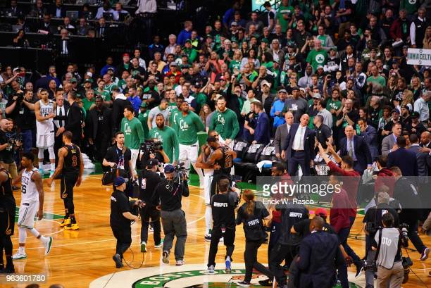 NBA Playoffs Cleveland Cavaliers LeBron James hugging Boston Celtics Al Horford after winning game at TD Garden Game 7 Boston MA CREDIT Erick W Rasco
