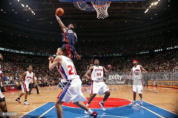 Basketball NBA Playoffs Cleveland Cavaliers LeBron James in action making dunk vs Detroit Pistons Game 5 Auburn Hills MI 5/31/2007