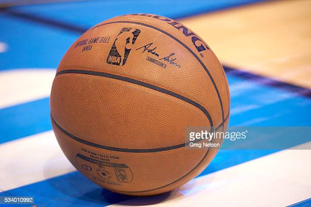 NBA Playoffs Closeup of basketball on court during Oklahoma City Thunder vs Golden State Warriors game at Chesapeake Energy Arena Game 3 Oklahoma...