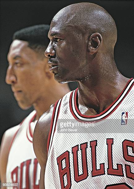 NBA Playoffs Closeup of Chicago Bulls Michael Jordan and Scottie Pippen on court during Game 5 vs Indiana Pacers Cover Chicago IL 5/27/1998 CREDIT...