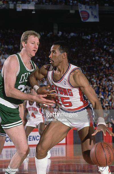 NBA Playoffs Closeup of Detroit Pistons Adrian Dantley in action vs Boston Celtics Larry Bird at Pontiac Silverdome Game 6 Pontiac MI CREDIT David E...