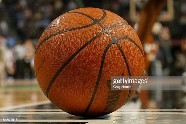 NBA Playoffs Closeup of Spalding ball equipment before Game 3 of San Antonio Spurs vs Phoenix Suns San Antonio TX 5/12/2007 CREDIT Greg Nelson
