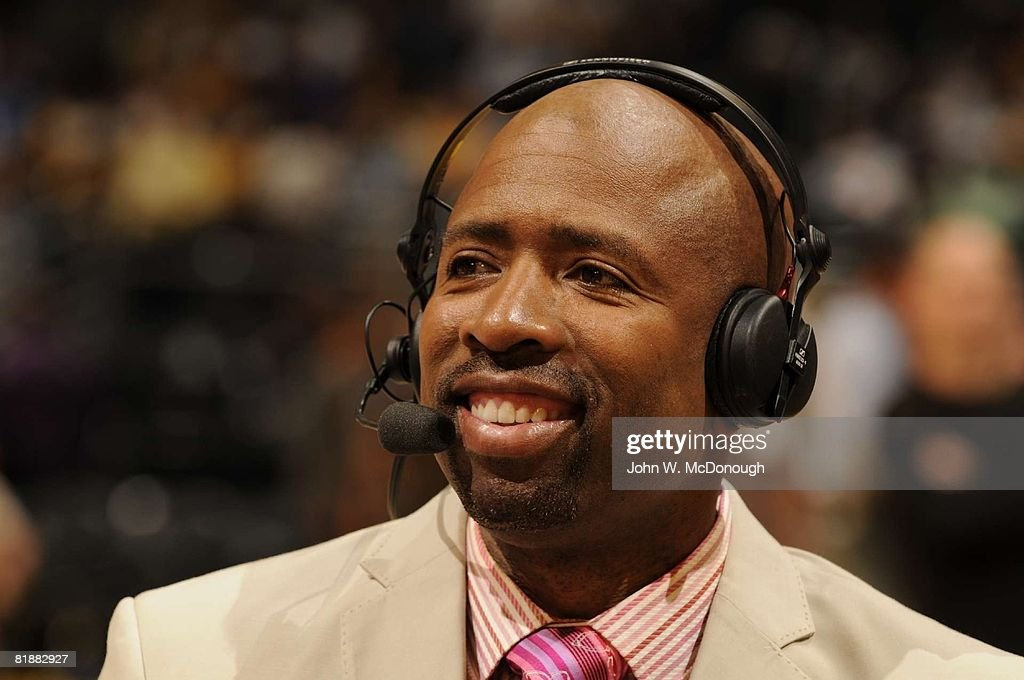 NBA Playoffs, Closeup of TNT announcer Kenny Smith before Game 1 of San Antonio Spurs vs Los Angeles Lakers series, Los Angeles, CA 5/21/2008