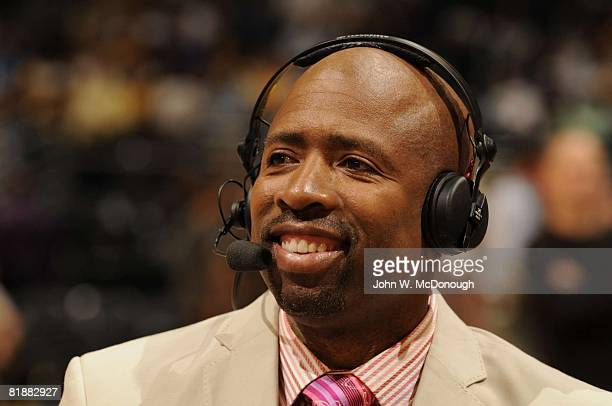 Basketball NBA Playoffs Closeup of TNT announcer Kenny Smith before Game 1 of San Antonio Spurs vs Los Angeles Lakers series Los Angeles CA 5/21/2008