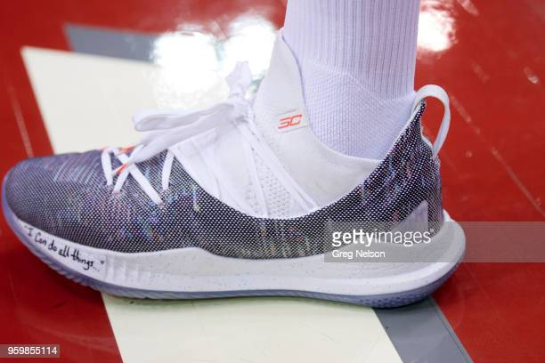 bc6e6a5d NBA Playoffs Closeup view of Golden State Warriors Stephen Curry's sneaker  on court before game vs