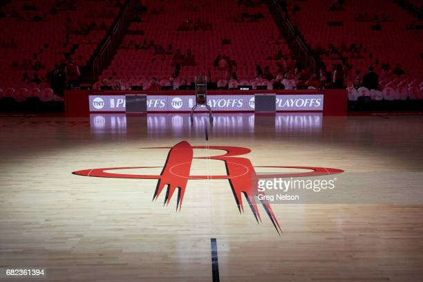 NBA Playoffs Closeup view of Houston Rockets logo on court before game vs San Antonio Spurs at Toyota Center Game 4 Houston TX CREDIT Greg Nelson