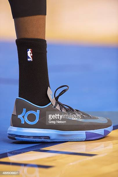 NBA Playoffs Closeup view of Oklahoma City Thunder Kevin Durant's sneaker during game vs Memphis Grizzlies at Chesapeake Energy Arena Game 5 Oklahoma...