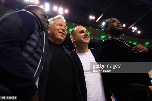 Playoffs: Comedian Kevin Hart, New England Patriots Robert Kraft, businessman Michael Rubin and rapper Meek Mill courtside during Boston Celtics vs...