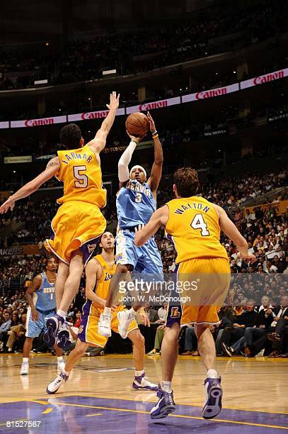 Basketball NBA Playoffs Denver Nuggets Allen Iverson in action taking shot vs Los Angeles Lakers Jordan Farmar Game 2 of NBA Western Conference...