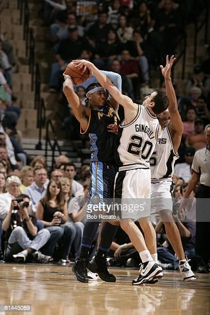 Basketball NBA Playoffs Denver Nuggets Carmelo Anthony in action vs San Antonio Spurs Manu Ginobili Game 1 San Antonio TX 4/22/2007