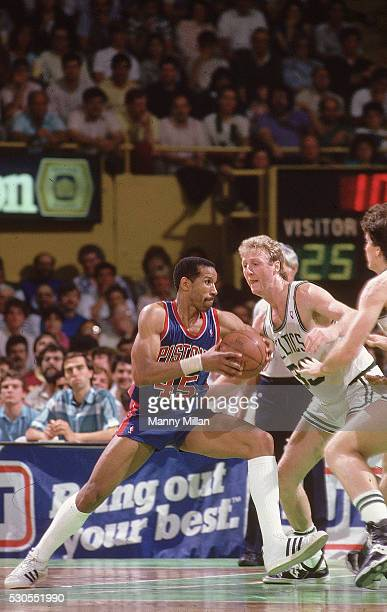NBA Playoffs Detroit Pistons Adrian Dantley in action vs Boston Celtics Larry Bird at Boston Garden Game 2 Boston MA CREDIT Manny Millan