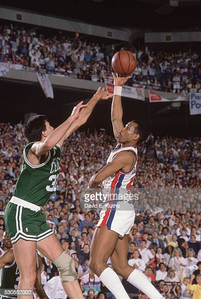 NBA Playoffs Detroit Pistons Adrian Dantley in action vs Boston Celtics Kevin McHale at Pontiac Silverdome Game 6 Pontiac MI CREDIT David E Klutho