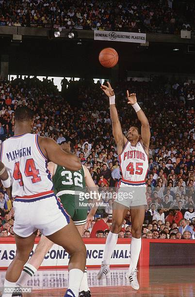 NBA Playoffs Detroit Pistons Adrian Dantley in action shooting vs Boston Celtics at Pontiac Silverdome Game 6 Pontiac MI CREDIT Manny Millan