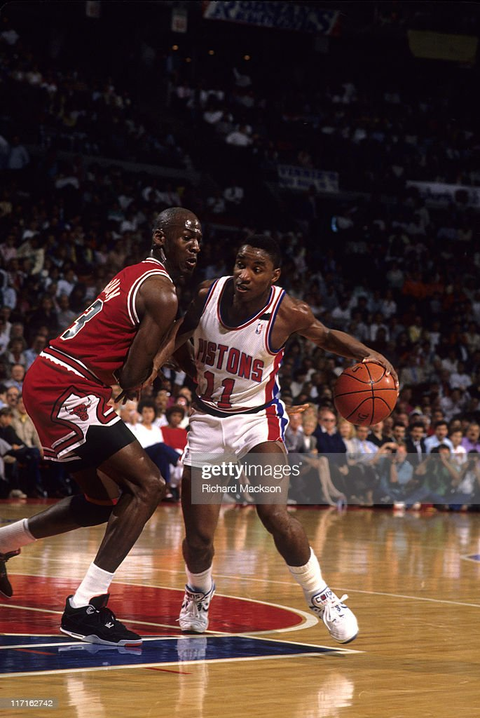 Detroit Pistons Isiah Thomas in action during game vs ...
