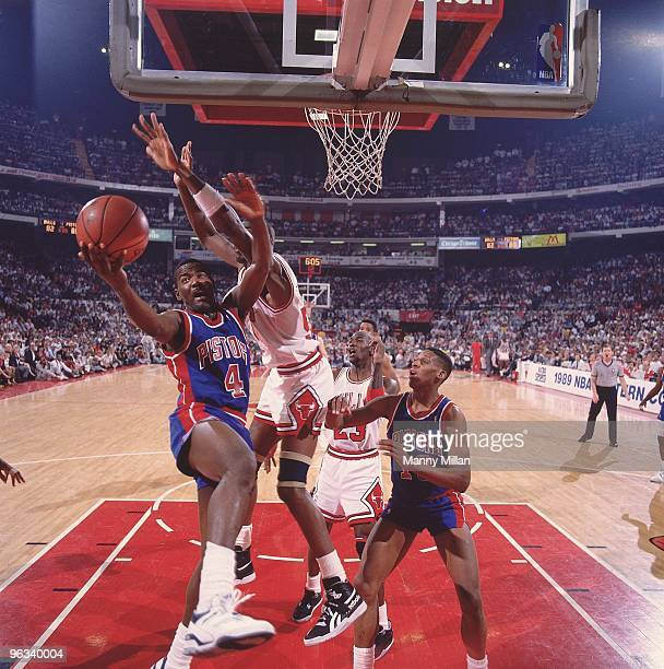 NBA Playoffs Detroit Pistons Joe Dumars in action layup vs Chicago Bulls Game 6 Chicago IL 6/2/1989 CREDIT Manny Millan