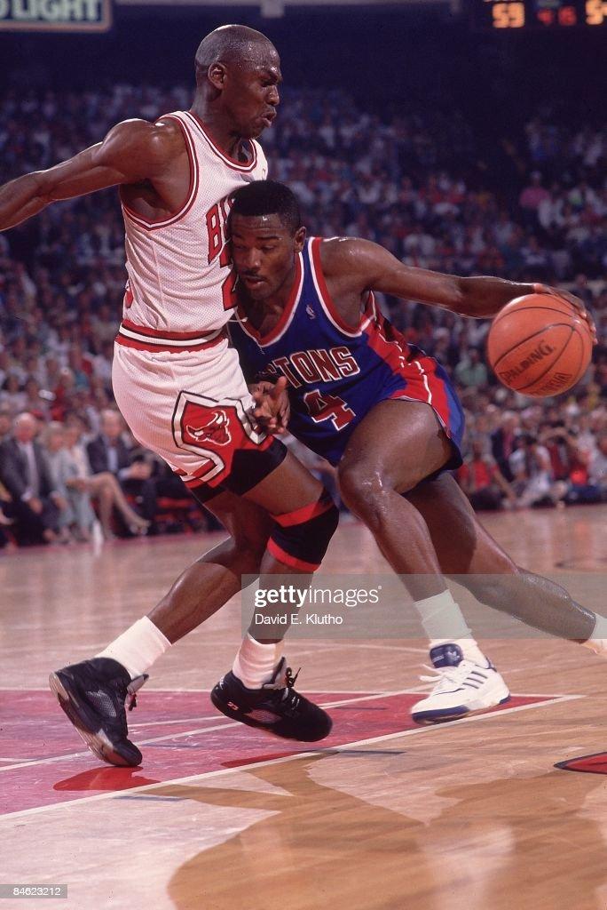 Detroit Pistons Joe Dumars in action vs Chicago Bulls ...