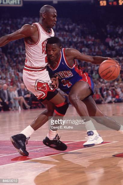NBA Playoffs Detroit Pistons Joe Dumars in action vs Chicago Bulls Michael Jordan Game 6 Chicago IL 6/1/1990 CREDIT David E Klutho