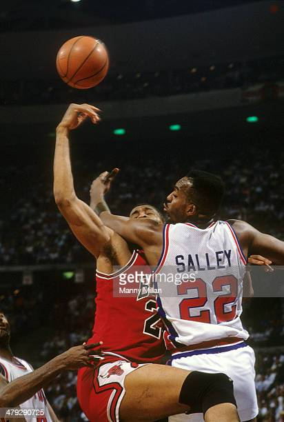 NBA Playoffs Detroit Pistons John Salley in action vs Chicago Bulls Bill Cartwright at The Palace of Auburn Hills Game 5 Auburn Hills MI CREDIT Manny...