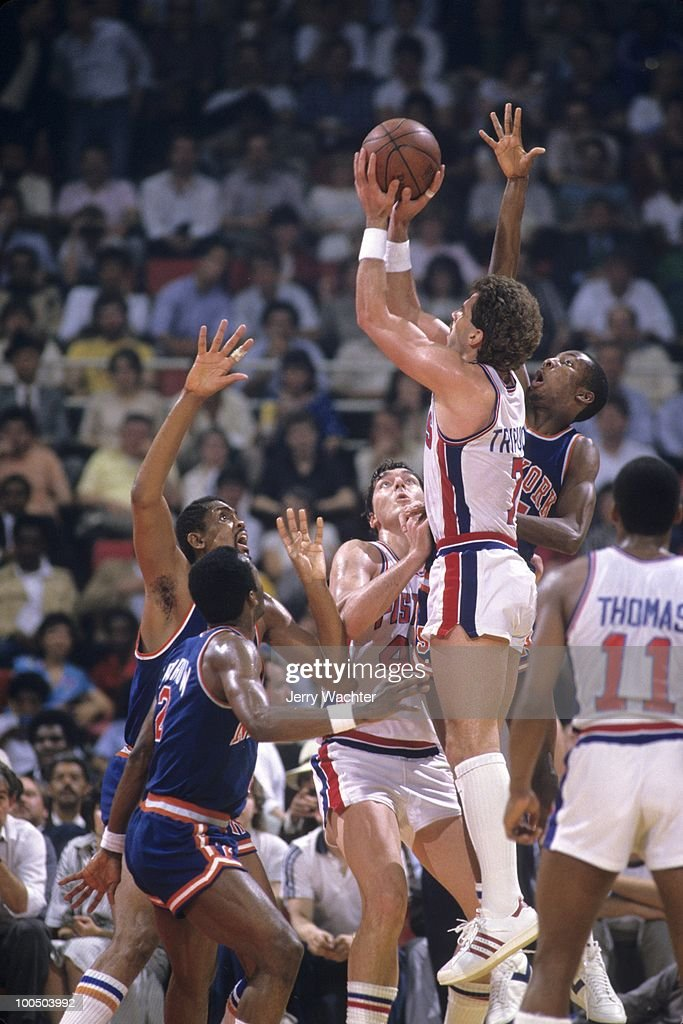 Detroit Pistons Kelly Tripucka (7) in action, shot vs New York Knicks. Game 5. Detroit, MI 4/27/1984