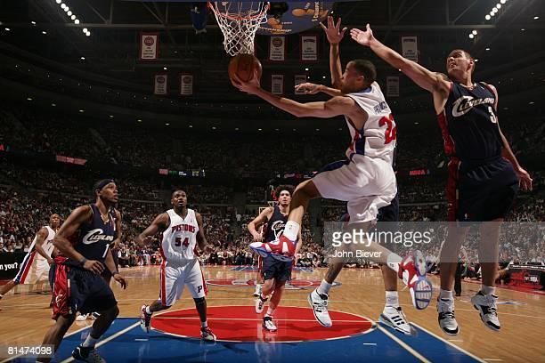 Basketball NBA Playoffs Detroit Pistons Tayshaun Prince in action layup vs Cleveland Cavaliers Aleksandar Pavlovic Game 5 Auburn Hills MI 5/31/2007