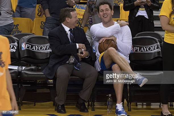 NBA Playoffs Golden State Warriors assistant coach Luke Walton on bench before game vs Portland Trail Blazers at Oracle Arena Game 5 Oakland CA...