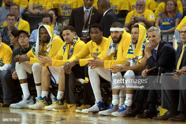 NBA Playoffs Golden State Warriors JaVale McGee and Stephen Curry on bench during game vs San Antonio Spurs at Oracle Arena Game 2 Oakland CA CREDIT...