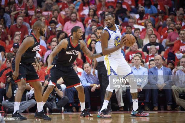 NBA Playoffs Golden State Warriors Kevin Durant in action vs Houston Rockets Trevor Ariza at Toyota Center Game 5 Houston TX CREDIT Greg Nelson