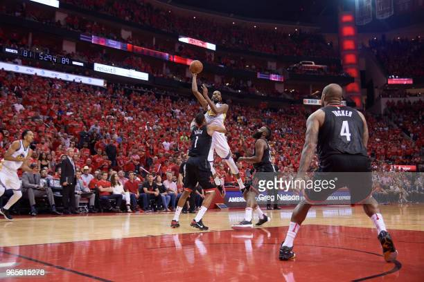 NBA Playoffs Golden State Warriors Kevin Durant in action vs Houston Rockets Trevor Ariza at Toyota Center Game 7 Houston TX CREDIT Greg Nelson