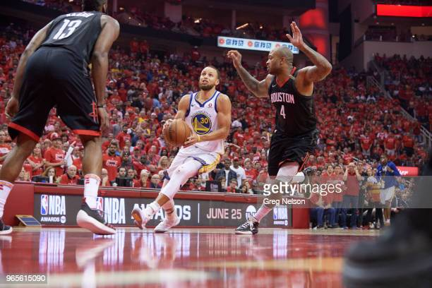 NBA Playoffs Golden State Warriors Stephen Curry in action vs Houston Rockets PJ Tucker at Toyota Center Game 7 Houston TX CREDIT Greg Nelson