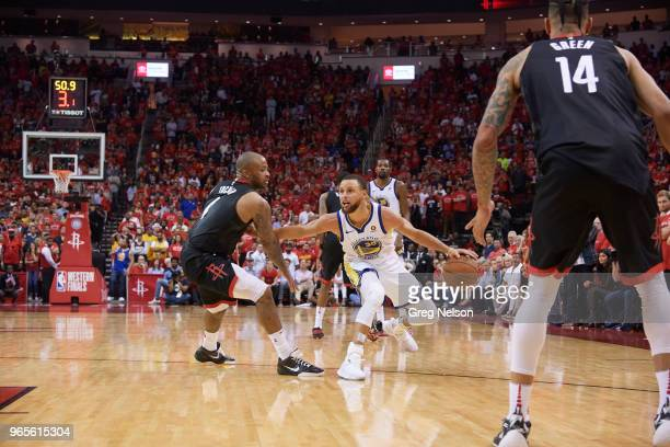 NBA Playoffs Golden State Warriors Stephen Curry in action vs Houston Rockets James Harden at Toyota Center Game 7 Houston TX CREDIT Greg Nelson