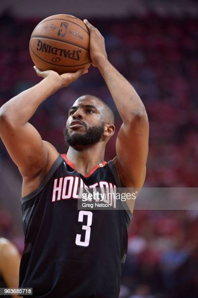 NBA Playoffs Houston Rockets Chris Paul during free throw vs Golden State Warriors at Toyota Center Game 5 Houston TX CREDIT Greg Nelson