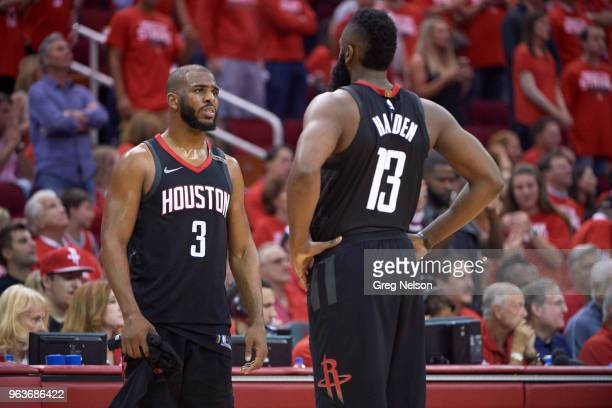 NBA Playoffs Houston Rockets Chris Paul with James Harden during game vs Golden State Warriors at Toyota Center Game 5 Houston TX CREDIT Greg Nelson