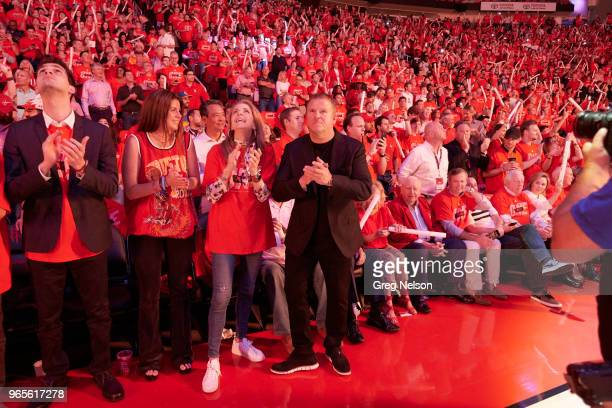 NBA Playoffs Houston Rockets owner Tilman Fertitta courtside before game vs Golden State Warriors at Toyota Center Game 7 Houston TX CREDIT Greg...