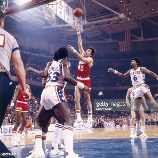 NBA Playoffs Houston Rockets Rudy Tomjanovich in action shooting vs Philadelphia 76ers at The Spectrum Game 1 Philadelphia PA CREDIT Manny Millan
