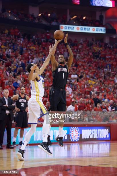 NBA Playoffs Houston Rockets Trevor Ariza in action shooting vs Golden State Warriors at Toyota Center Game 7 Houston TX CREDIT Greg Nelson