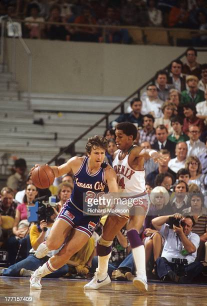 NBA Playoffs Kansas City Kings Ernie Grunfeld in action vs Phoenix Suns Dennis Johnson at Vets Memorial Coliseum Phoenix AZ CREDIT Richard Mackson