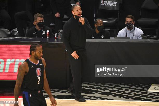 Playoffs: Los Angeles Clippers coach Tyronn Lue on sidelines during game vs Utah Jazz at Staples Center. Game 4. Los Angeles, CA 6/14/2021 CREDIT:...