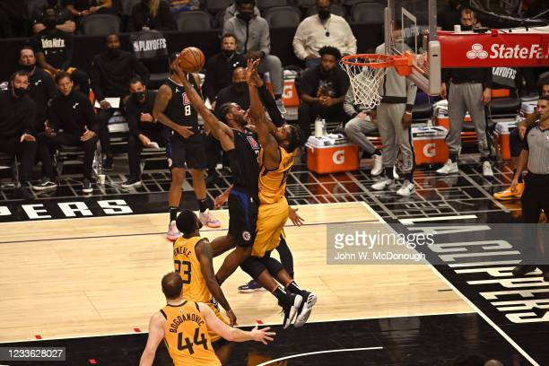 Playoffs: Los Angeles Clippers Kawhi Leonard ) in action vs Utah Jazz Derrick Favors at Staples Center. Game 4. Los Angeles, CA 6/14/2021 CREDIT:...