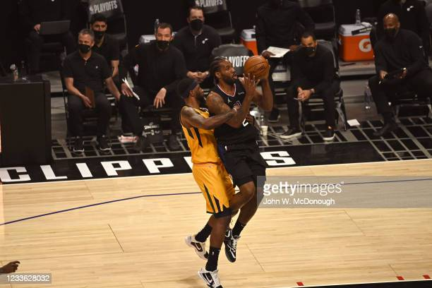 Playoffs: Los Angeles Clippers Kawhi Leonard in action, shooting vs Utah Jazz at Staples Center. Game 4. Los Angeles, CA 6/14/2021 CREDIT: John W....