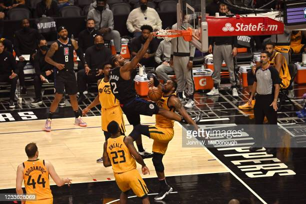 Playoffs: Los Angeles Clippers Kawhi Leonard in action dunk vs Utah Jazz at Staples Center. Game 4. Los Angeles, CA 6/14/2021 CREDIT: John W....