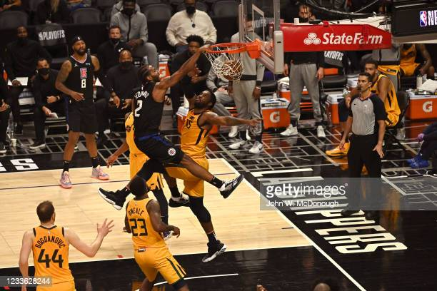 Playoffs: Los Angeles Clippers Kawhi Leonard in action, dunking vs Utah Jazz Derrick Favors at Staples Center. Game 4. Los Angeles, CA 6/14/2021...